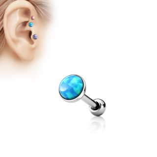 Tragus stud with flat topped opal gem