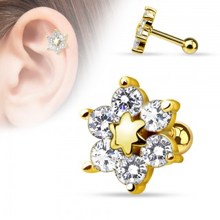 Gold plated helix piercing with flower of crystal and star in center