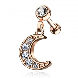 Coloured ear piercing with crescent moon dangle