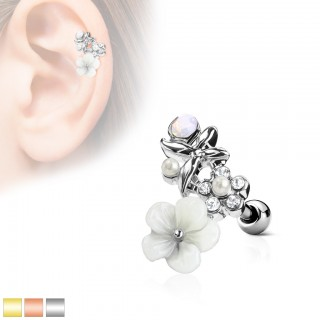 Ear piercing with top of multi coloured flowers