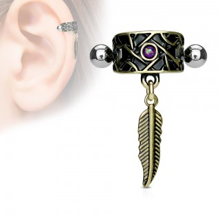 Helix piercing with antique gold feather and blue opal stone