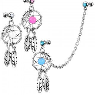 Tragus to helix chain with dreamcatcher and feathers