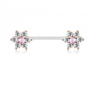 Nipple bar with flowers and coloured gemstones
