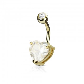 Belly button bar with coloured heart shaped diamond