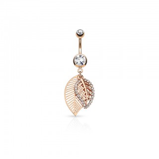 Belly bar with crystal paved leaves dangle