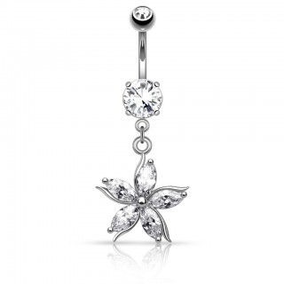 Belly button piercing with flower of five crystals
