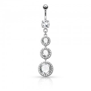 Belly ring with long pendant of three loose and round crystals