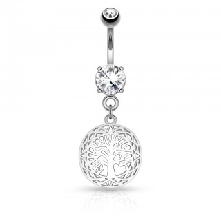 Belly button piercing with Tree of Life filigrane