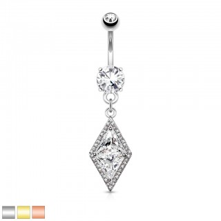 Belly button bar with large clear dia crystal
