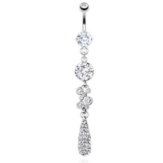 Belly bar with tear droplet and clear crystals