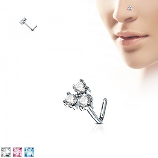 Nose stud with three coloured crystals on top