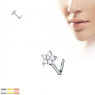 Nose stud with coloured flower top
