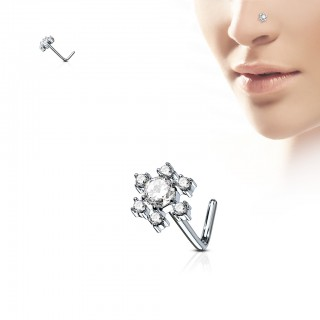 Nose stud with L-bend and coloured flower top
