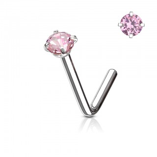 Nose stud with round coloured crystal