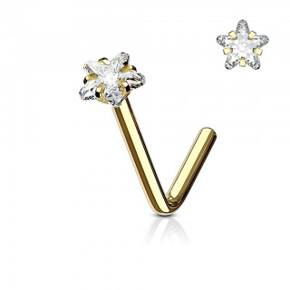 Nose stud with clear star shaped crystal