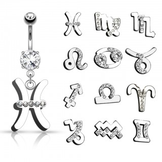 Belly button piercing with Zodiac sign