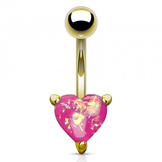 Gold belly bar with coloured glitter opal heart