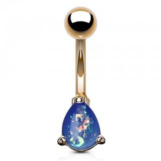 Rose gold belly bar with coloured glitter opal tear drop