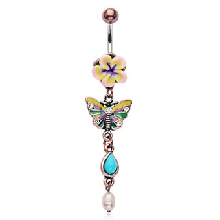 Belly bar with flower butterfly and blue stone