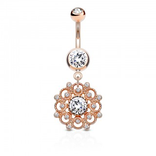 Coloured belly bar with dangling filigree and crystal