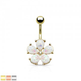 Coloured belly bar with flower of glitter opals