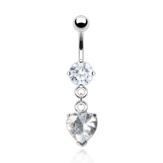 Belly bar with clear heart-shaped crystal