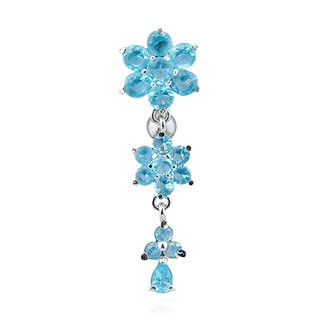 Reverse belly ring with three crystal flowers