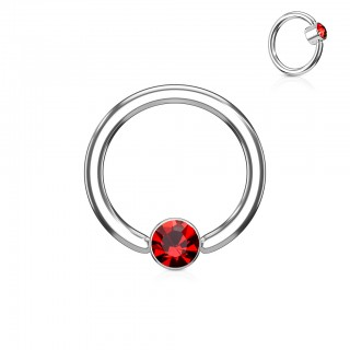 Ball closure ring with coloured diamond in cylinder