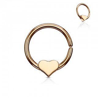 Coloured piercing ring with removable heart