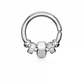 Steel piercing ring with coloured removable beads