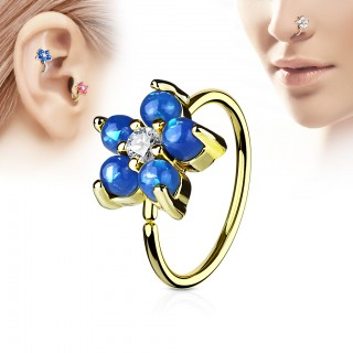 Gold piercing ring with flower of coloured opal stones