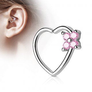Piercing ring in heart shape with crystal flower
