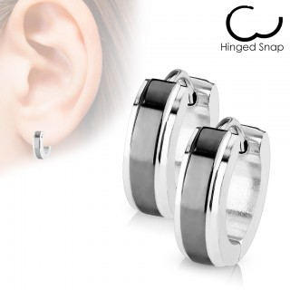 Pair silver earrings with shiny coloured centre