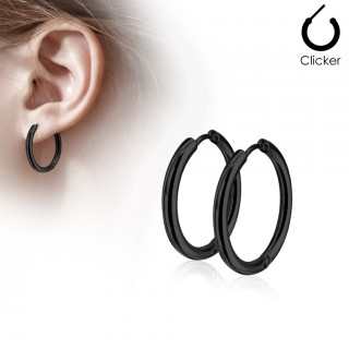 Pair of black coloured earrings with hinge action