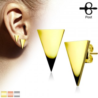 Pair coloured ear studs with polished triangle