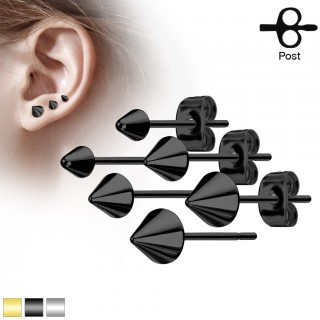 Pair of coloured ear studs with spike top