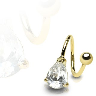 Gold plated twister with Tear Drop gem