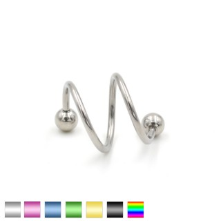 Coloured double twister piercing with balls