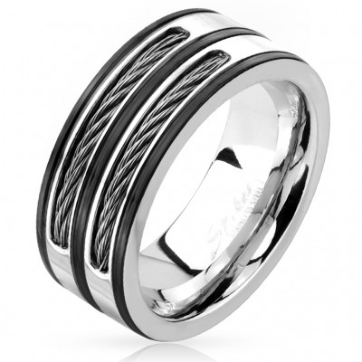 Striped ring with two black cables