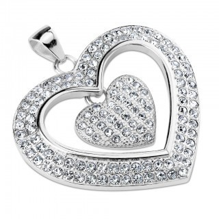 Silver pendant with two crystal hearts