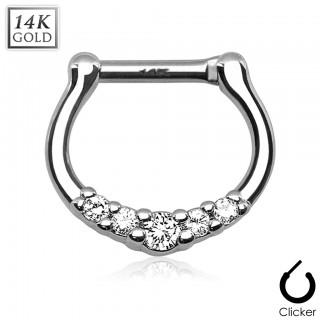 Solid gold septum clicker with five clear crystals