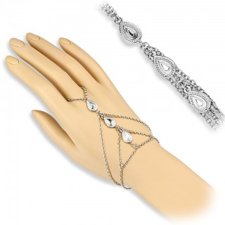 Slave chain bracelet with three Tear Drop dangles