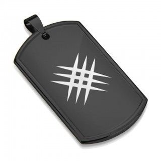 Black Dog Tag pendant with crossed scratches