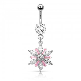 Belly button piercing with big pink crystal flower