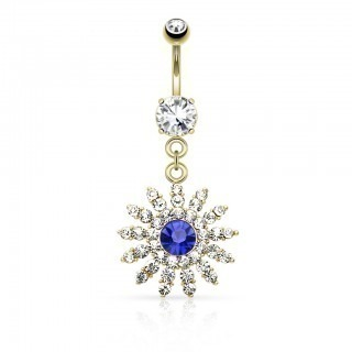 Belly bar with flower and blue centred diamond