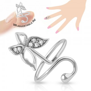 Adjustable nail ring with crystal butterfly
