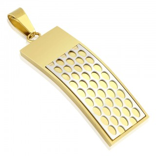 Gold plated pendant with white beehive pattern