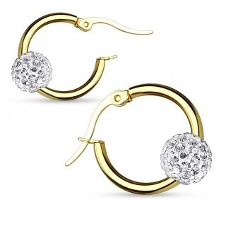 Gold plated earrings with crystal balls