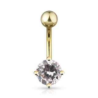 Gold plated belly button ring with round gem