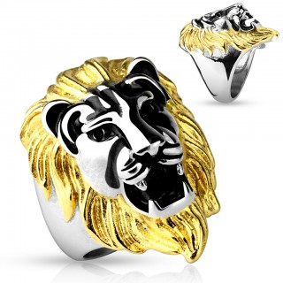 Ring with lion head and gold mane